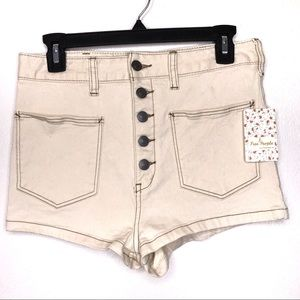 Free People High Rise Ecru Shorts